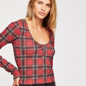 Free People School Girl Red Thermal cropped top